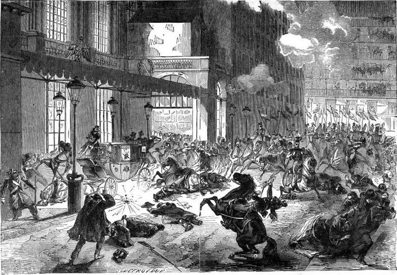 Gravure de l'attentat contre Napoléon