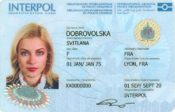 Carte d'identification d'Interpol